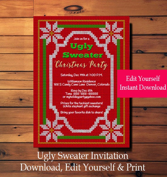 Ugly Sweater Invitation Template Free Beautiful Ugly Sweater Invitation Ugly Sweater Party Invitation