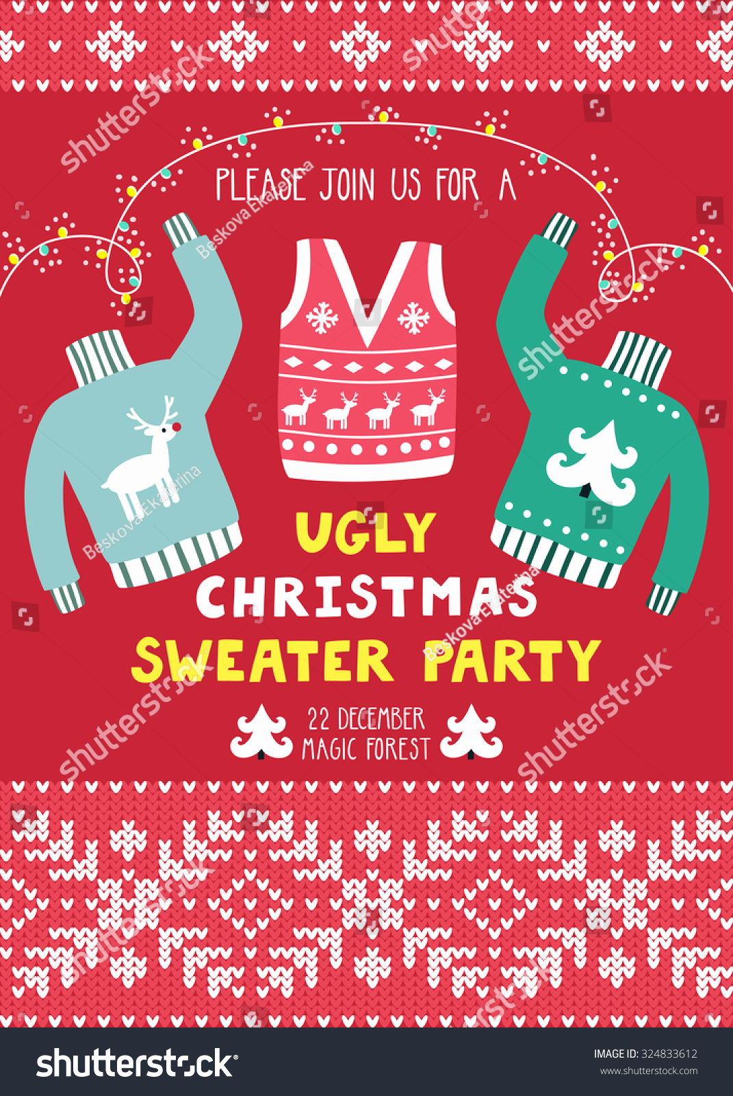 Ugly Sweater Invitation Template Free Beautiful Vector Invitation Template with Ugly Sweaters