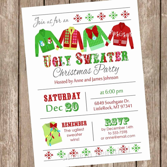 Ugly Sweater Invitation Template Free Fresh Ugly Sweater Invitation Ugly Sweater Invite Holiday