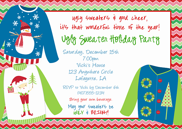 Ugly Sweater Invitation Template Free Inspirational Ugly Christmas Sweater Party Invitations
