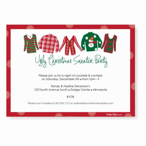 Ugly Sweater Invitation Template Free Lovely Ugly Christmas Sweater Invitation Template by