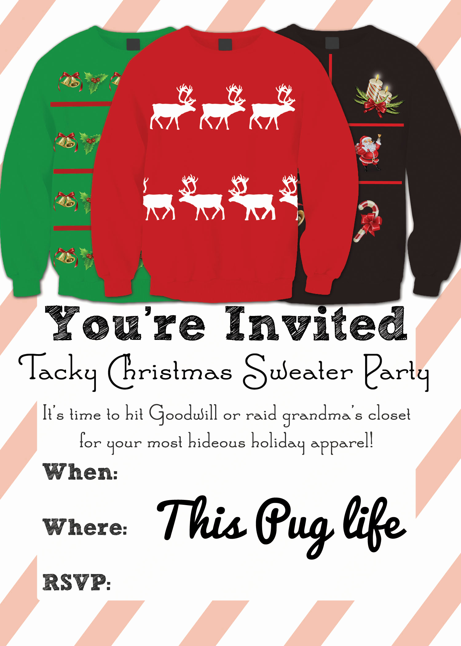 Ugly Sweater Invitation Template Free Unique Tacky Christmas Sweater Party Invitations – Free Printable