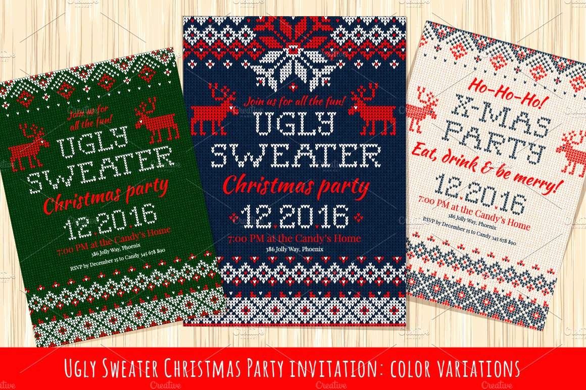 Ugly Sweater Invitation Template Lovely Ugly Sweater Christmas Party Invite Illustrations