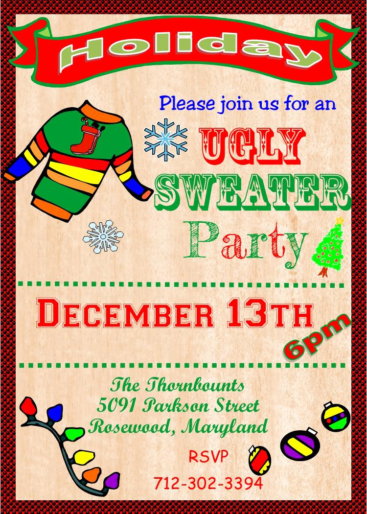 Ugly Sweater Invitation Template Lovely Ugly Sweater Invitation Template Free Ugly Sweater Party