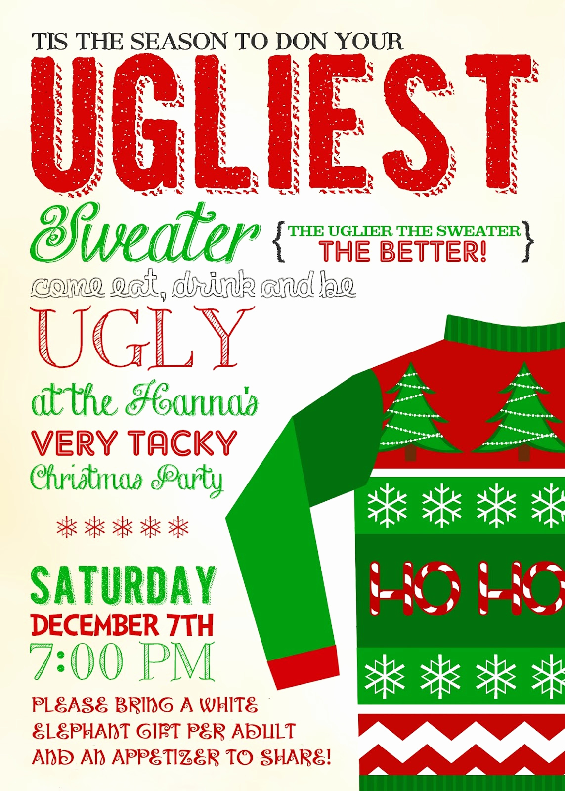 Ugly Sweater Invitation Template Luxury Sweeten Your Day events Be Ugly Christmas Party