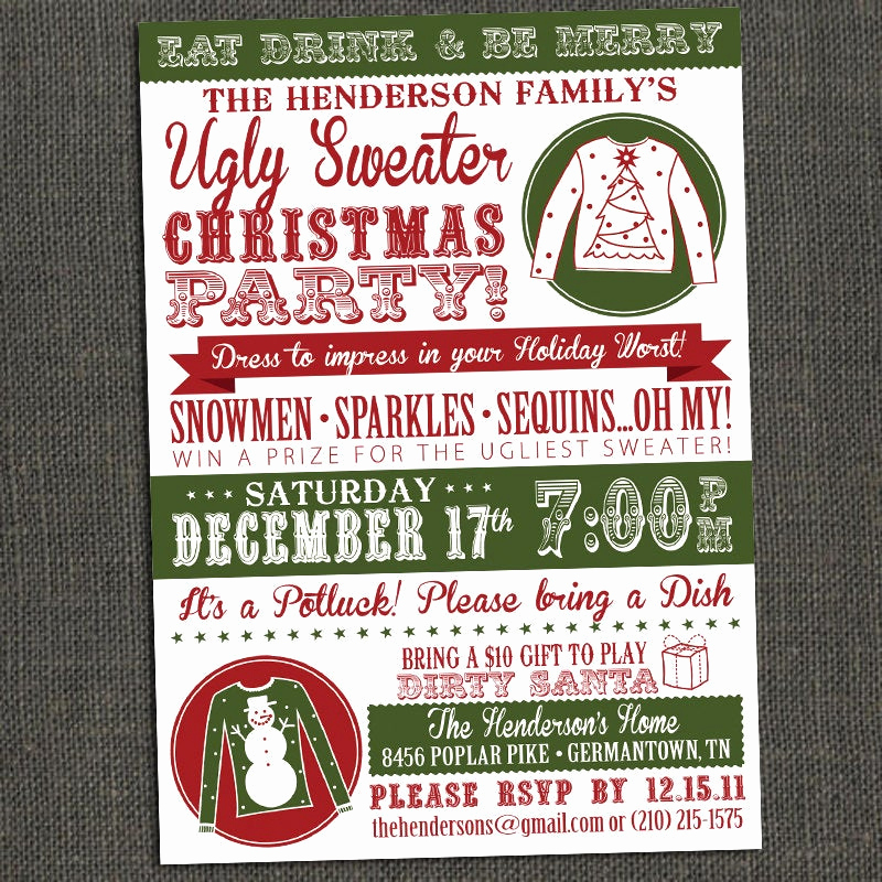 Ugly Sweater Invitation Template New Ugly Sweater Party Invitations