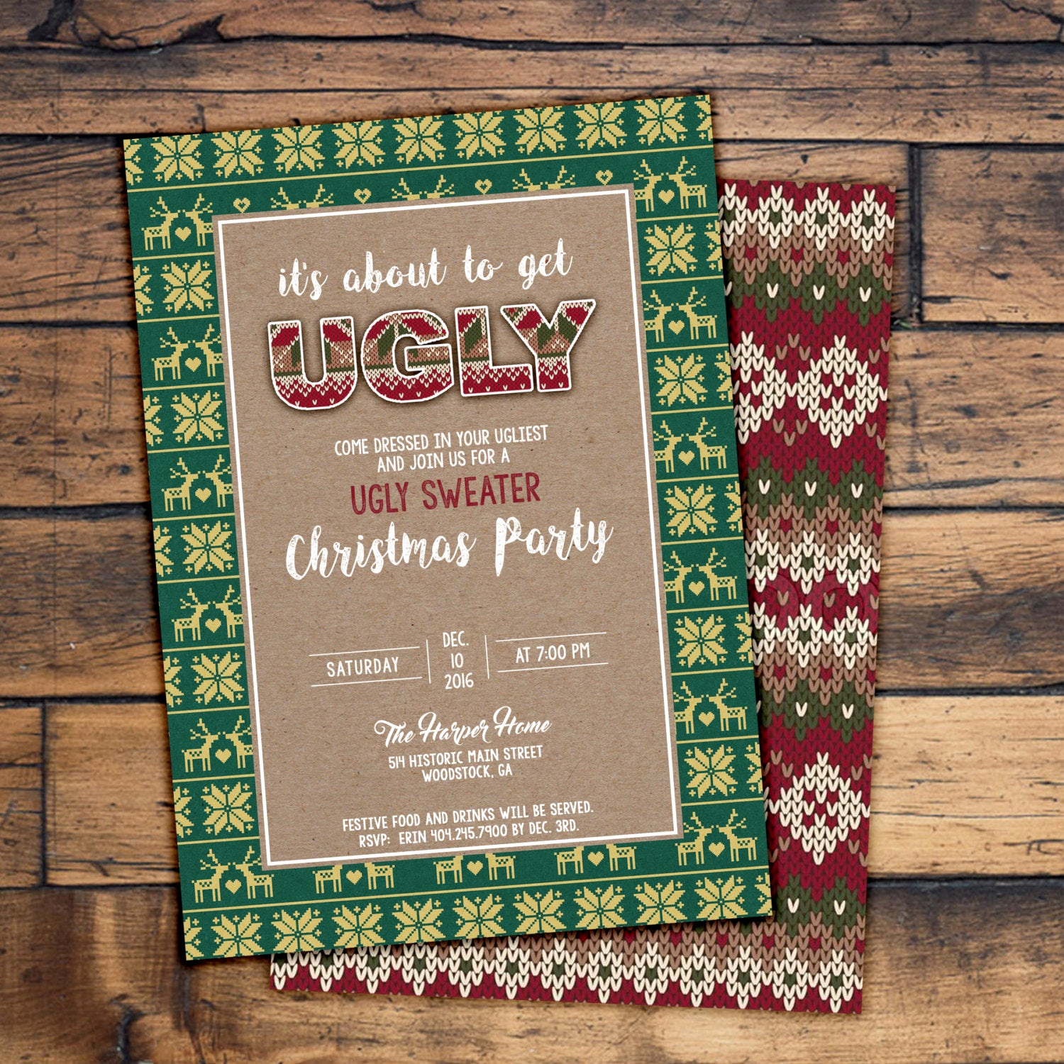 Ugly Sweater Party Invitation Elegant Ugly Sweater Christmas Party Invitation Digital File or