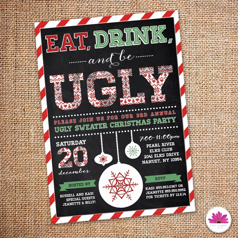 Ugly Sweater Party Invitation Elegant Ugly Sweater Holiday Party Invitation Digital File