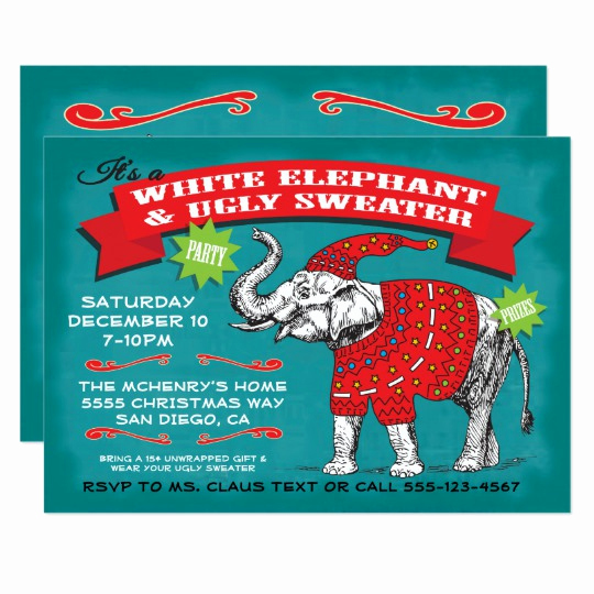 Ugly Sweater Party Invitation Elegant White Elephant Ugly Sweater Party Invitation