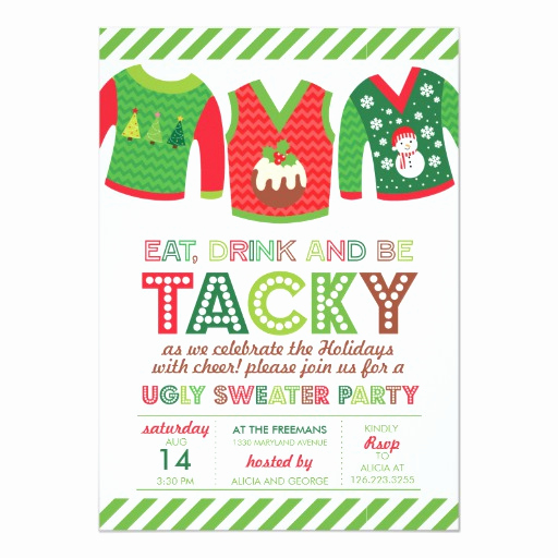 Ugly Sweater Party Invitation Free Awesome Eat Drink and Be Tacky Ugly Sweater Party Card