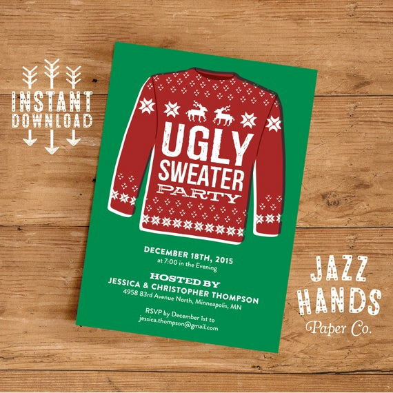 Ugly Sweater Party Invitation Free Awesome Ugly Sweater Invitation Template Diy Printable Holiday