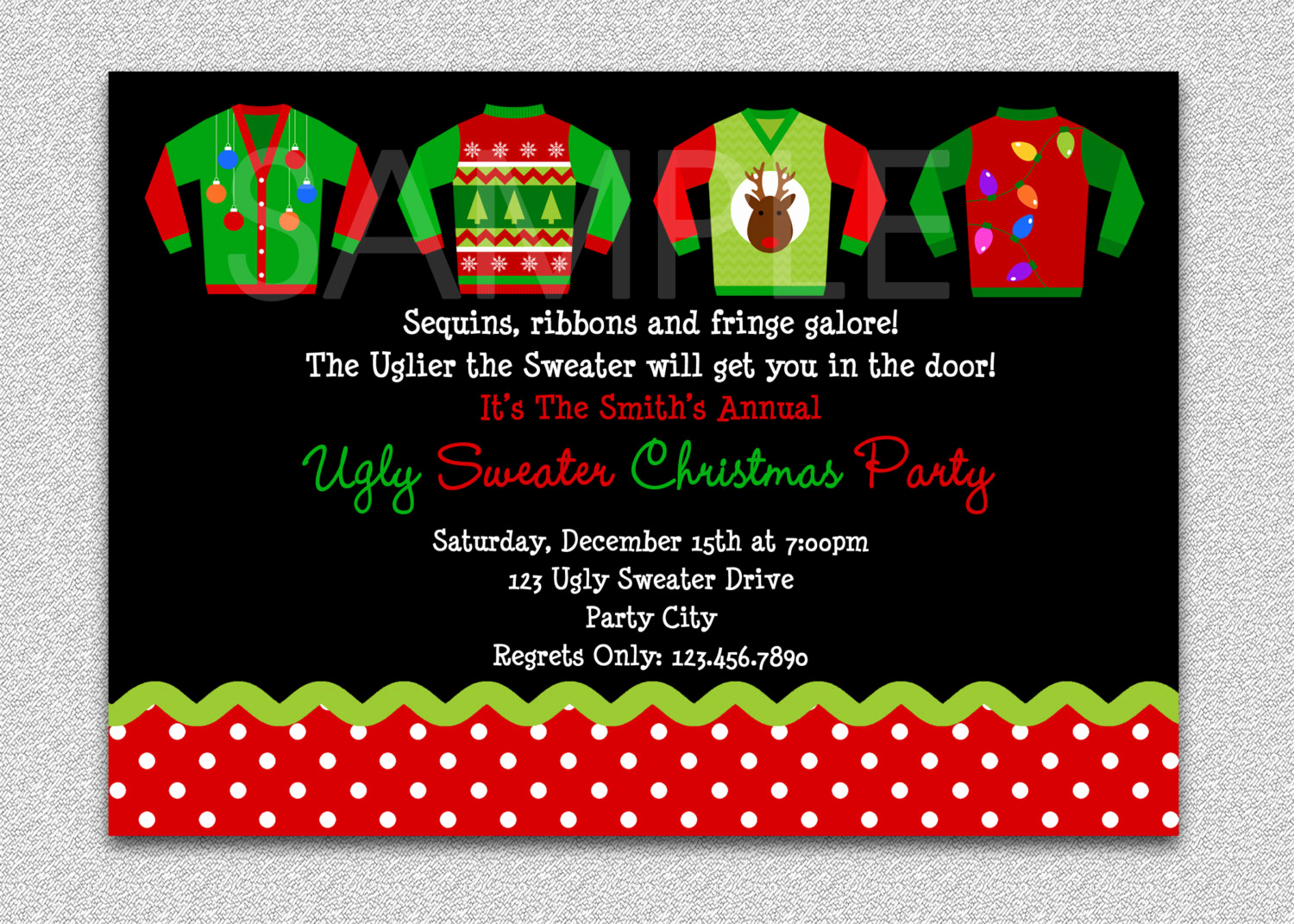 Ugly Sweater Party Invitation Free Elegant Ugly Sweater Party Invitation Holiday by thetrendybutterfly