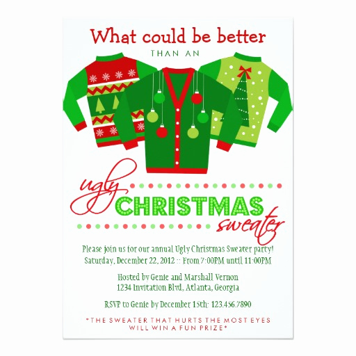 Ugly Sweater Party Invitation Free Luxury Ugly Christmas Sweater Holiday Party Invitation Card