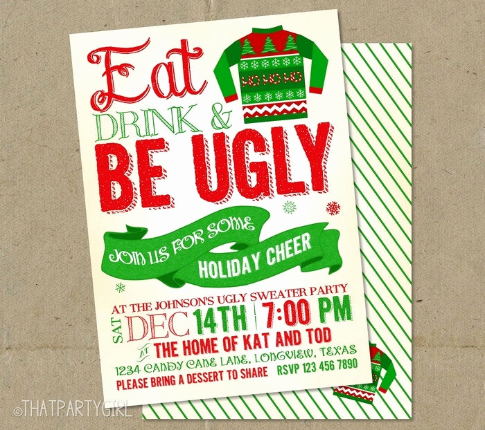 Ugly Sweater Party Invitation Free New Ugly Sweater Invitations Christmas Party Diy