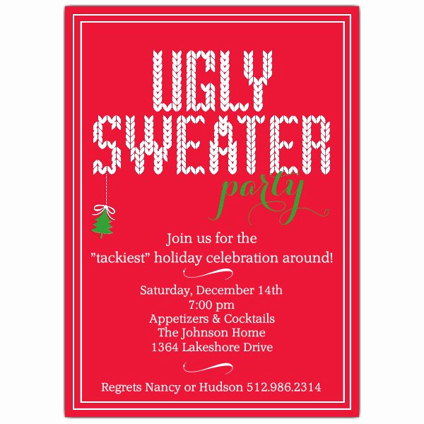 Ugly Sweater Party Invitation Fresh Ugly Sweater Holiday Party Invitations