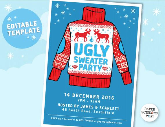 Ugly Sweater Party Invitation Templates Awesome Ugly Sweater Party Invitation Template Editable Printable