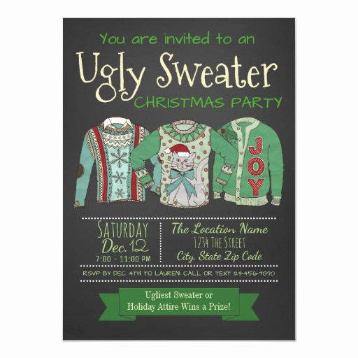 Ugly Sweater Party Invitation Templates Beautiful Ugly Sweater Christmas Party Invitation Chalk