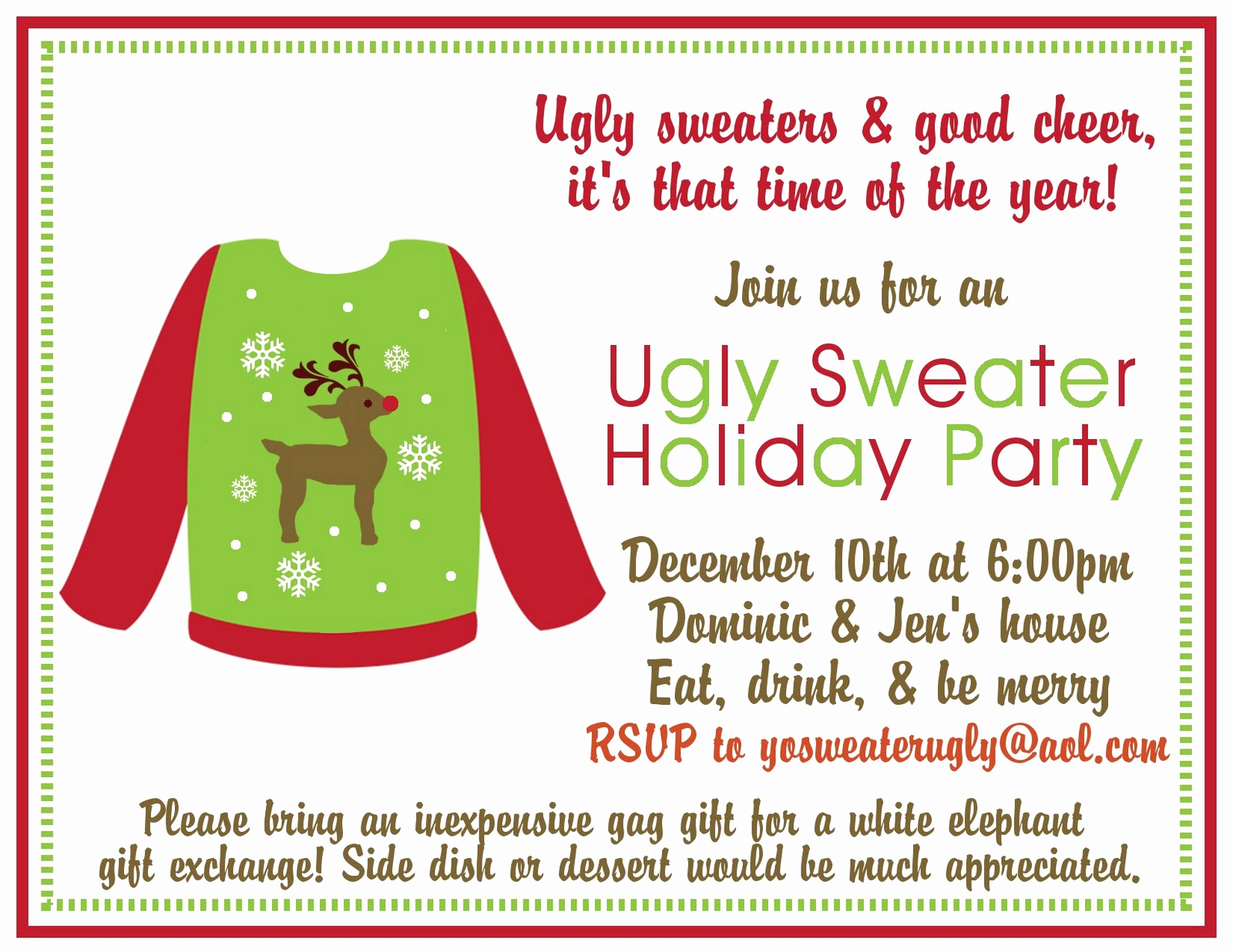 Ugly Sweater Party Invitation Templates Best Of Ugly Sweater Party Holiday Party Ideas