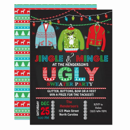 Ugly Sweater Party Invitation Templates Inspirational Tacky Ugly Sweater Christmas Party Invitation