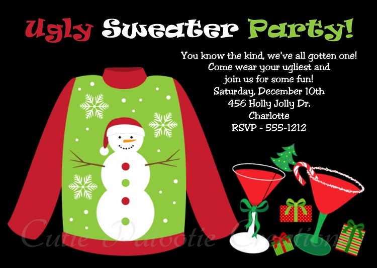 Ugly Sweater Party Invitation Templates Lovely Ugly Sweater Holiday Party Invitation for Kids or Adults