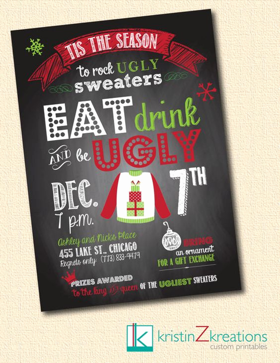 Ugly Sweater Party Invitation Wording Awesome Ugly Sweater Party Invitations