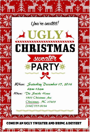 4 free ugly christmas sweater party invitations