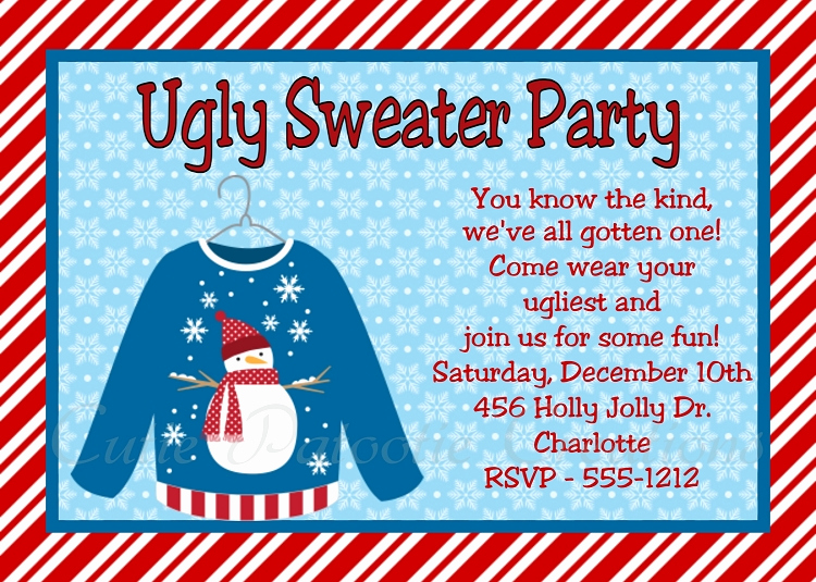 Ugly Sweater Party Invitation Wording Beautiful Ugly Sweater Invitations for Kids or Adults Printable or