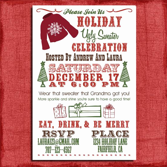 Ugly Sweater Party Invitation Wording Best Of Holiday Christmas Ugly Sweater Party Invitation 4x6