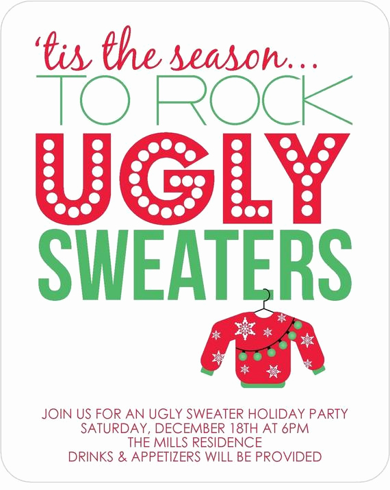 Ugly Sweater Party Invitation Wording Elegant Items Similar to Ugly Sweater Party Invitations Set Of