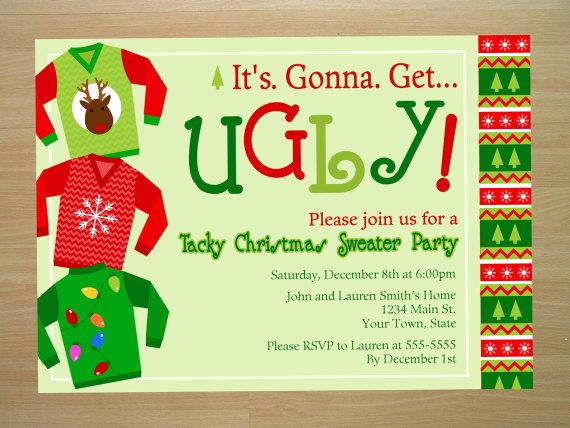 Ugly Sweater Party Invitation Wording Elegant Ugly Christmas Sweater Party Invitation Digital File