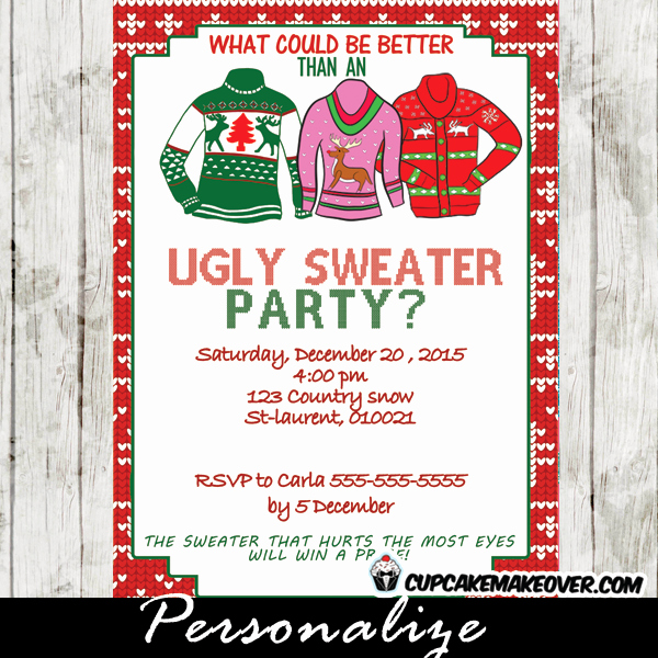 Ugly Sweater Party Invitation Wording Luxury Ugly Sweater Holiday Party Invitations & Voting Ballots