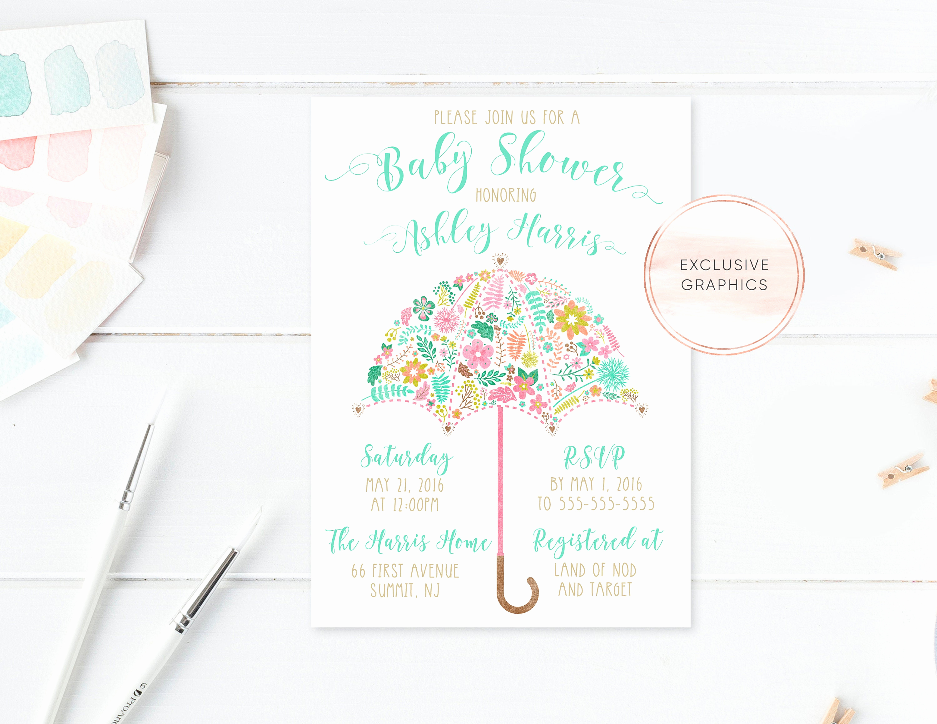 Umbrella Baby Shower Invitation Awesome Umbrella Baby Shower Invitation Floral Baby Shower