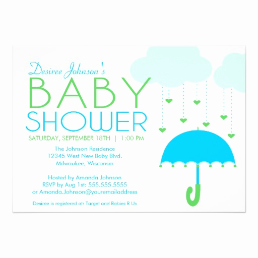 Umbrella Baby Shower Invitation Elegant Blue and Green Umbrella Boy Baby Shower Personalized