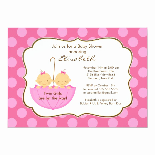 Umbrella Baby Shower Invitation Lovely Twins Girls Umbrella Baby Shower Invitation Pink