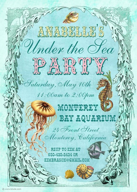 Under the Sea Invitation Template Awesome Items Similar to Under the Sea Party Invitation Birthday