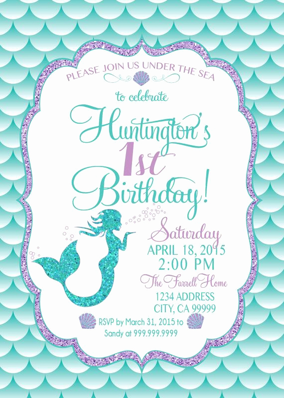 Under the Sea Invitation Template Awesome Mermaid Birthday Invitation Mermaid Party Invite Under
