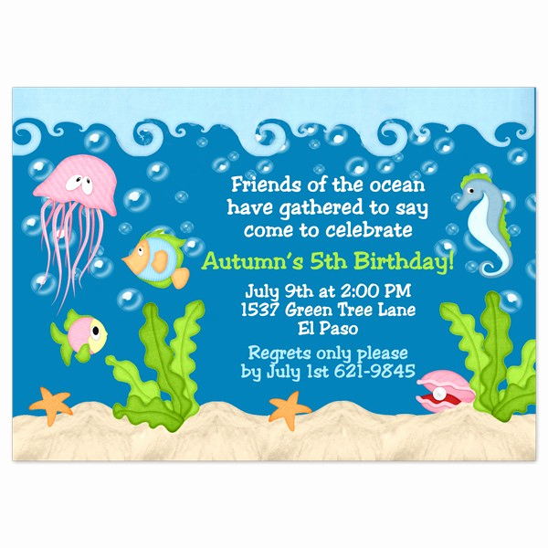 Under the Sea Invitation Template Awesome Under the Sea Birthday Invitations Wording