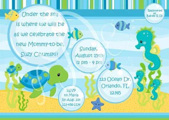 Under the Sea Invitation Template Best Of Under the Sea Baby Shower Invitations Template Wbzuqaty