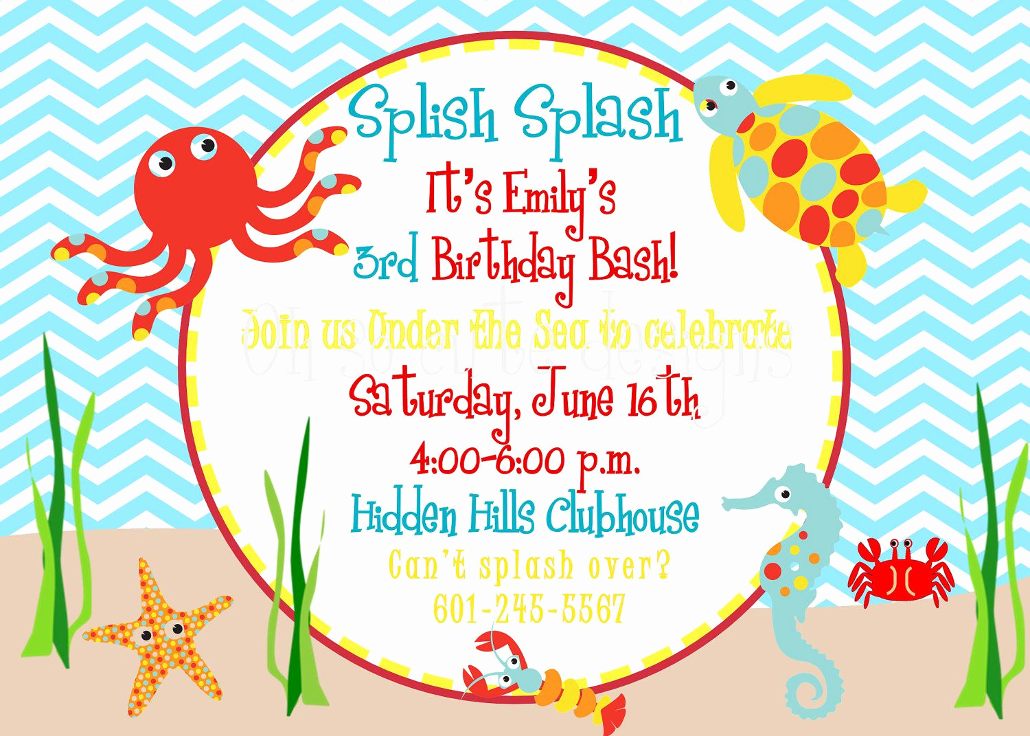 Under the Sea Invitation Template Inspirational Under the Sea Birthday Invitation $12 00 Via Etsy