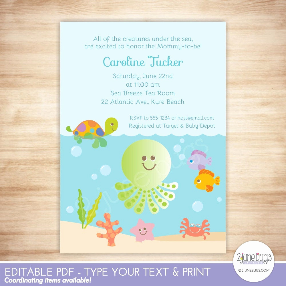 Under the Sea Invitation Template Lovely Under the Sea Baby Shower Invitation Gender Neutral Baby