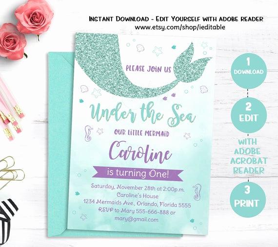 Under the Sea Invitation Template Luxury Mermaid Birthday Invitation Mermaid Invitation Under the