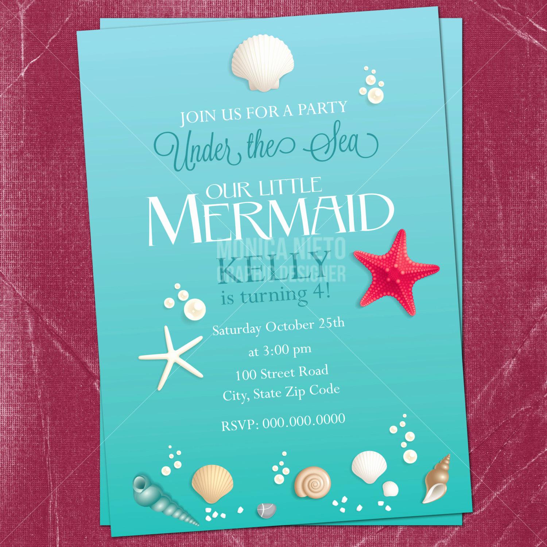 Under the Sea Invitation Template Luxury Printable Little Mermaid Birthday Invitation Under the Sea