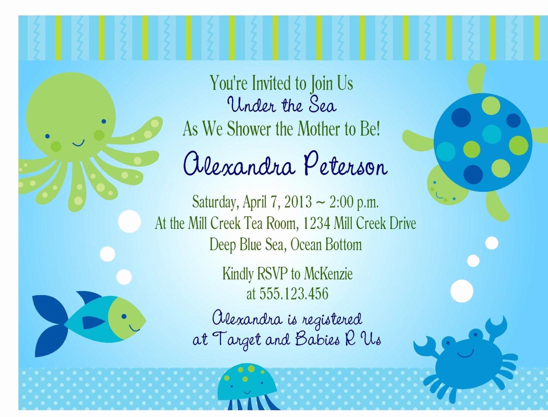 Under the Sea Invitation Template Luxury Under the Sea Baby Shower Invitations Free Templates