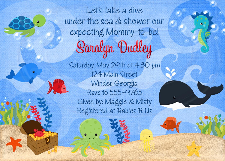 Under the Sea Invitation Templates Best Of Under the Sea Baby Shower or Birthday Invitation Digital