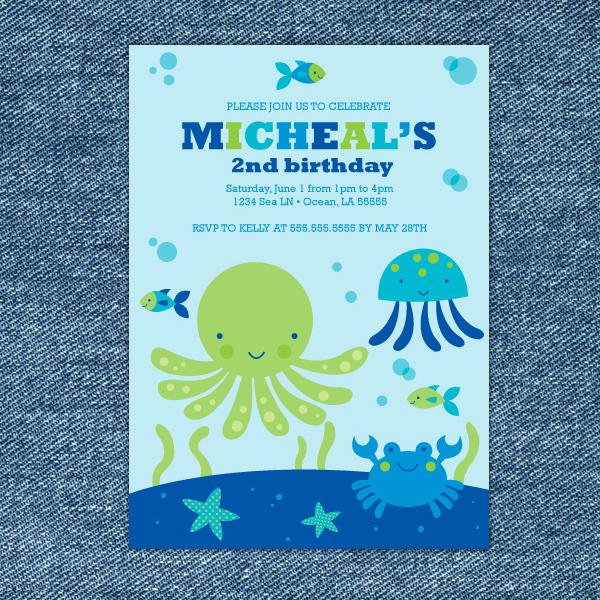 Under the Sea Invitation Templates Elegant Under the Sea Birthday Party Invitations