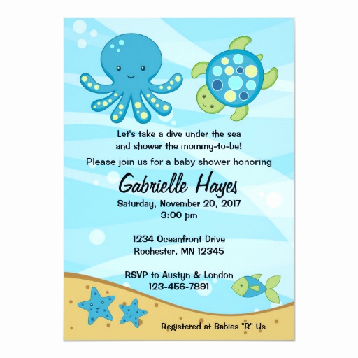 "Under the Sea Invitation Templates Elegant Under the Sea Blue Baby Shower Invitations 5"" X 7"