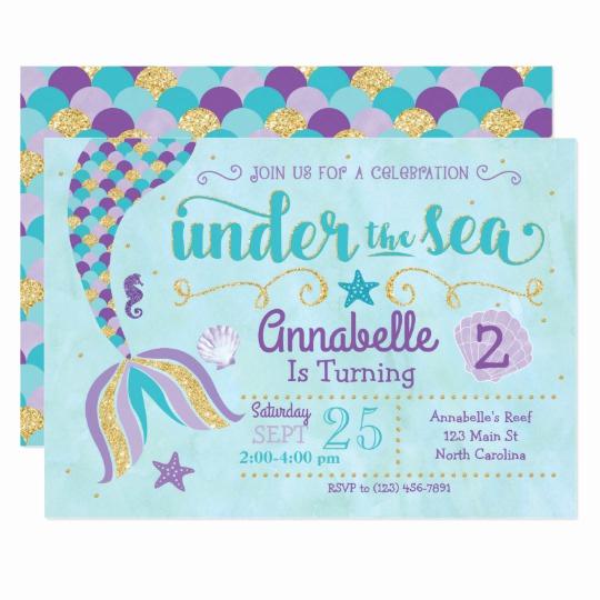 Under the Sea Invitation Templates Fresh Mermaid Invitation Under the Sea Invite