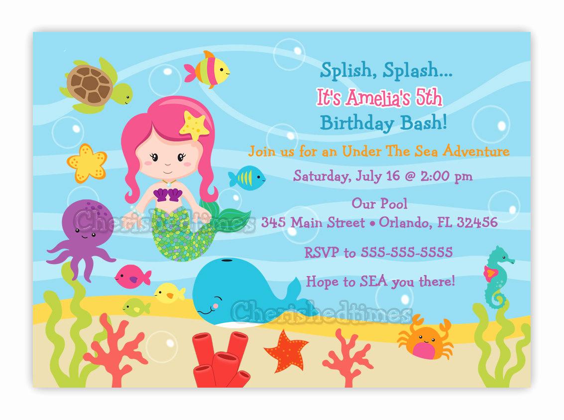Under the Sea Invitation Templates Inspirational Under the Sea Birthday Invitation Choose Mermaid You Print