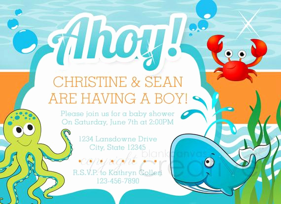 Under the Sea Invitation Templates Lovely Items Similar to Diy Baby Shower Invitation Under the