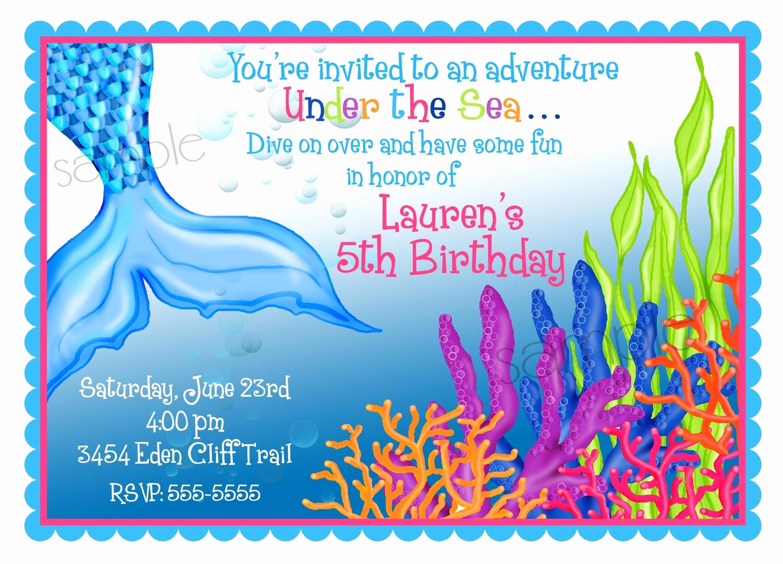 Under the Sea Invitation Templates Lovely Mermaid Birthday Invitations Mermaid Birthday Party Under